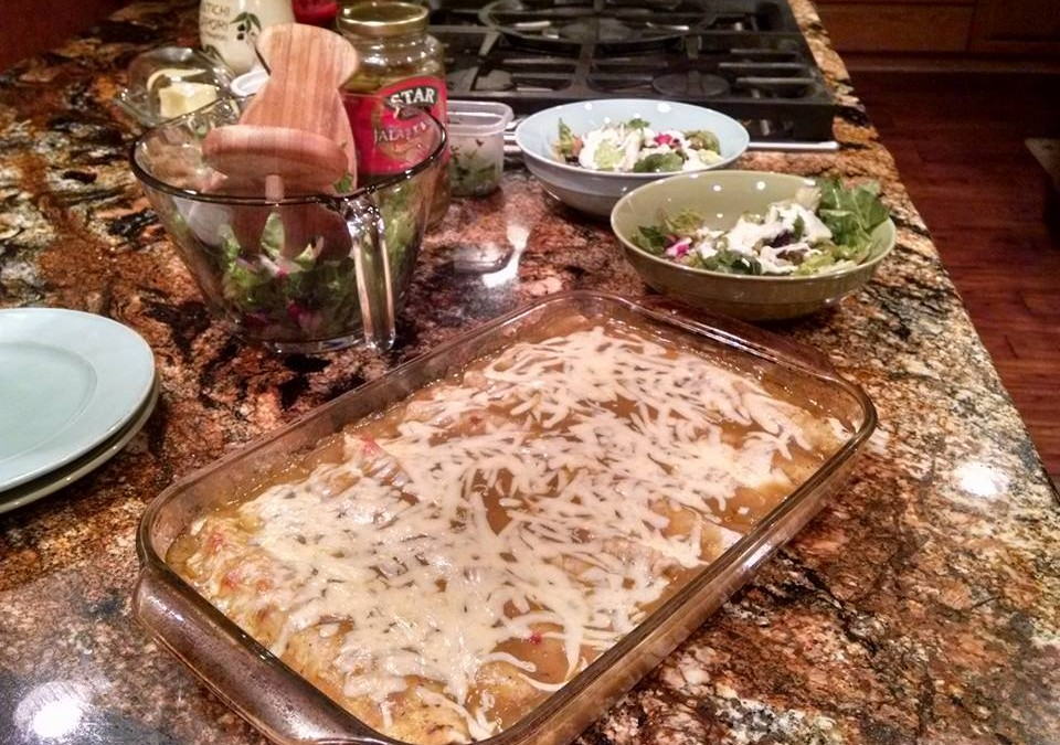 Making Turkey Green Enchiladas With Buffy